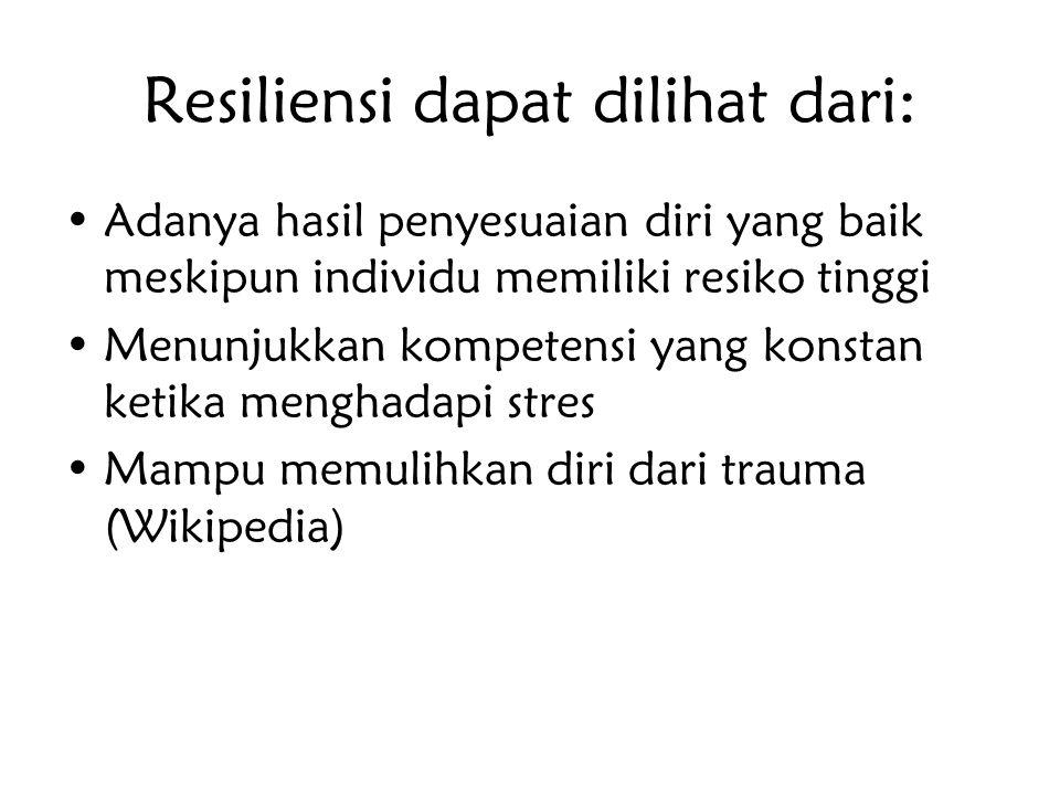 Resiliensi dapat dilihat dari: