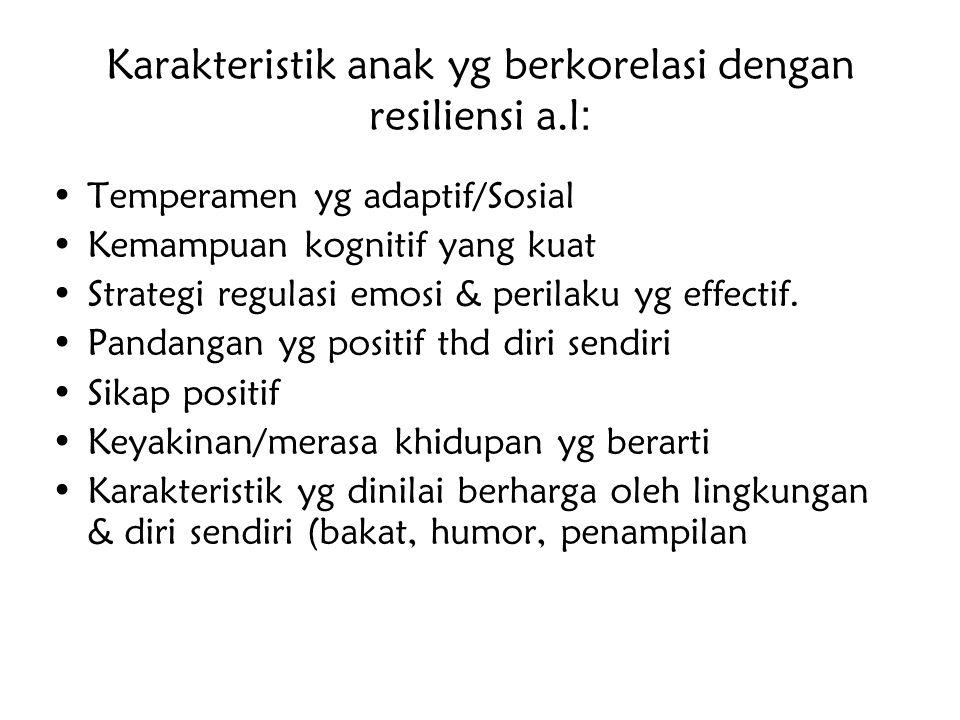 Karakteristik anak yg berkorelasi dengan resiliensi a.l: