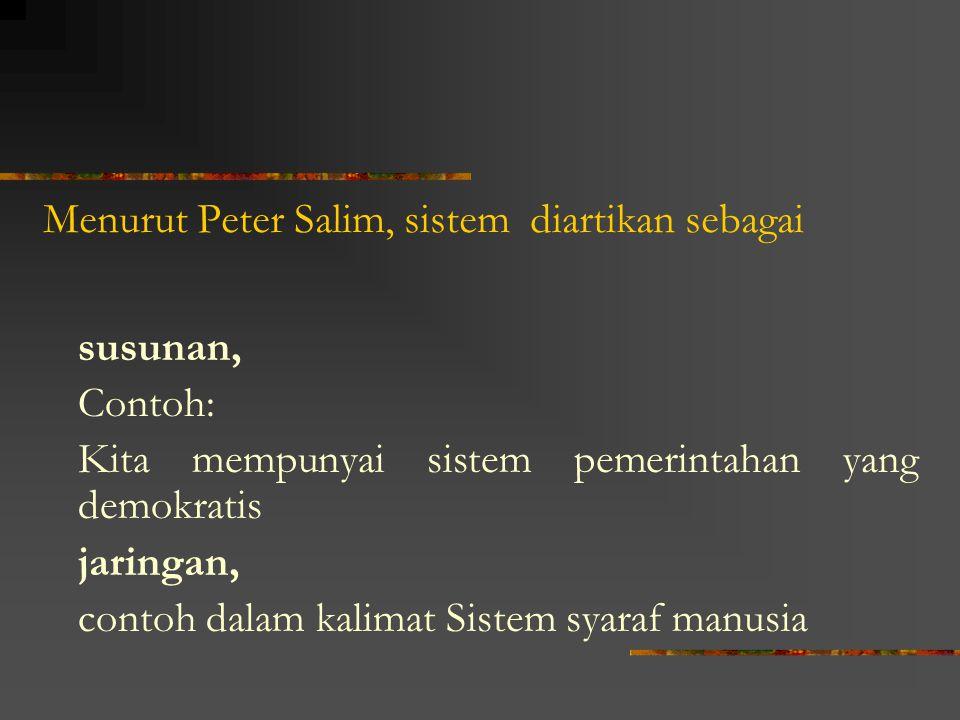 Menurut Peter Salim, sistem diartikan sebagai