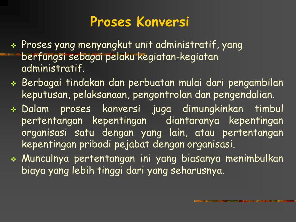 Proses Konversi Proses yang menyangkut unit administratif, yang berfungsi sebagai pelaku kegiatan-kegiatan administratif.