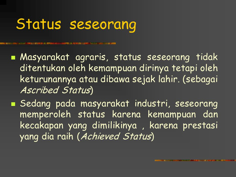 Status seseorang