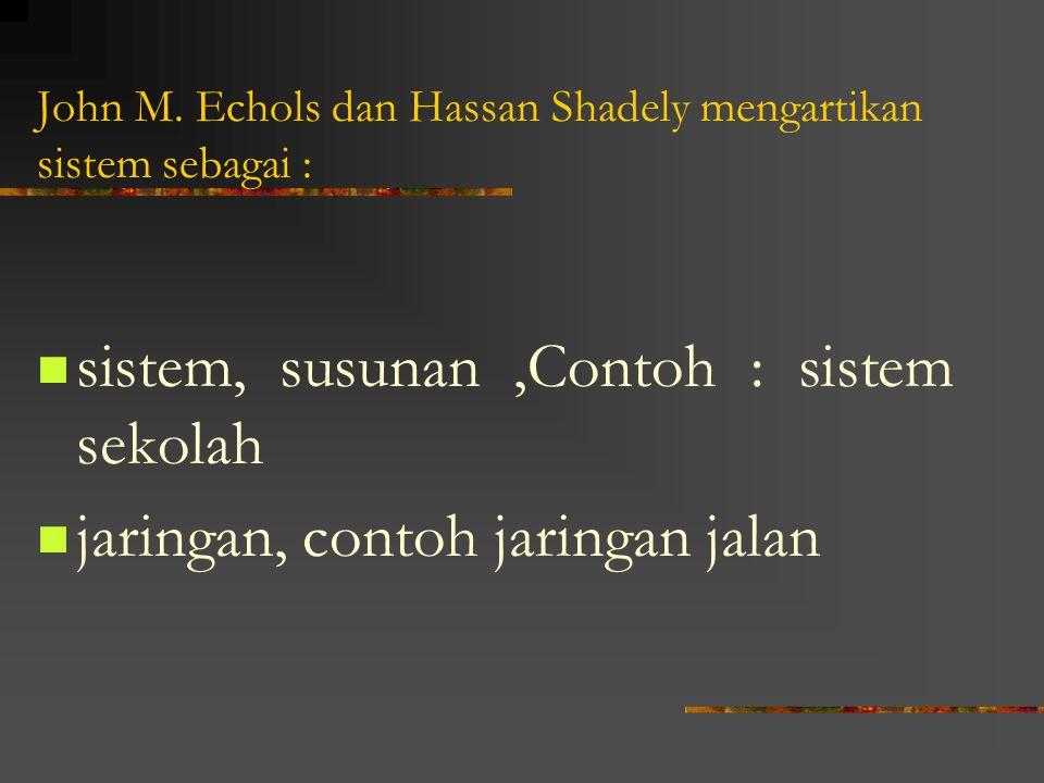 John M. Echols dan Hassan Shadely mengartikan sistem sebagai :