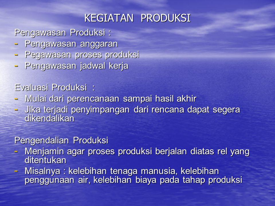 KEGIATAN PRODUKSI Pengawasan Produksi : Pengawasan anggaran