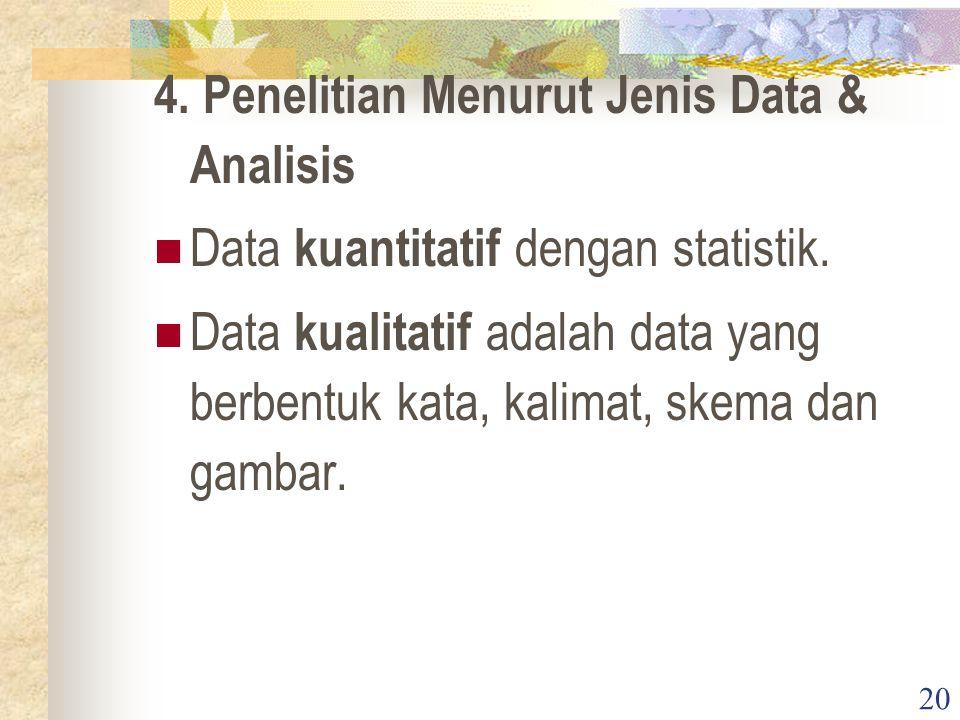 4. Penelitian Menurut Jenis Data & Analisis