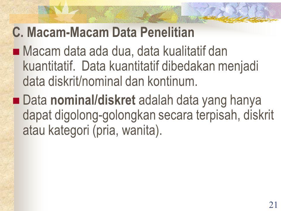 C. Macam-Macam Data Penelitian