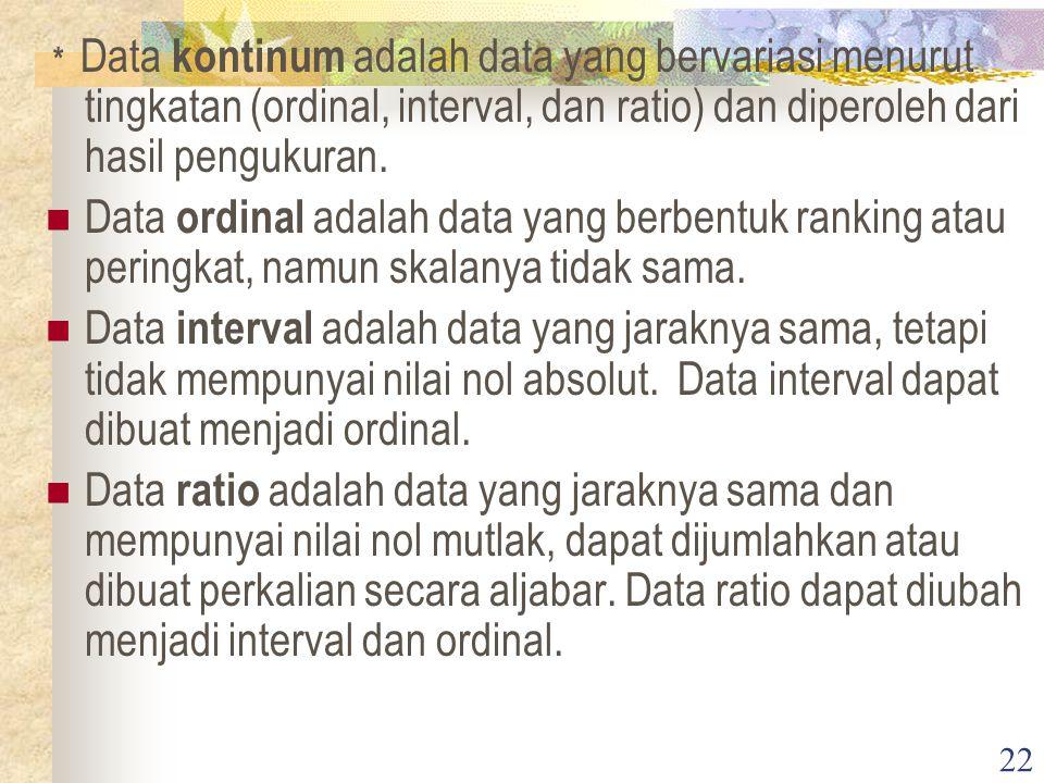 * Data kontinum adalah data yang bervariasi menurut tingkatan (ordinal, interval, dan ratio) dan diperoleh dari hasil pengukuran.