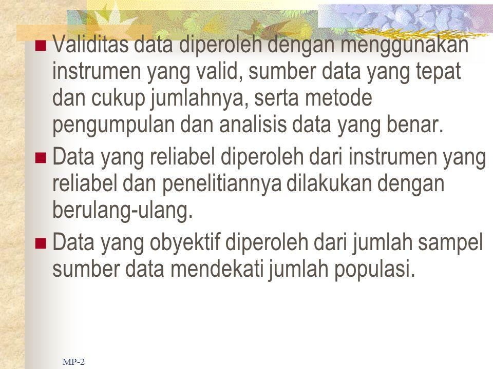 Validitas data diperoleh dengan menggunakan instrumen yang valid, sumber data yang tepat dan cukup jumlahnya, serta metode pengumpulan dan analisis data yang benar.