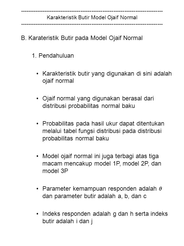 B. Karateristik Butir pada Model Ojaif Normal 1. Pendahuluan