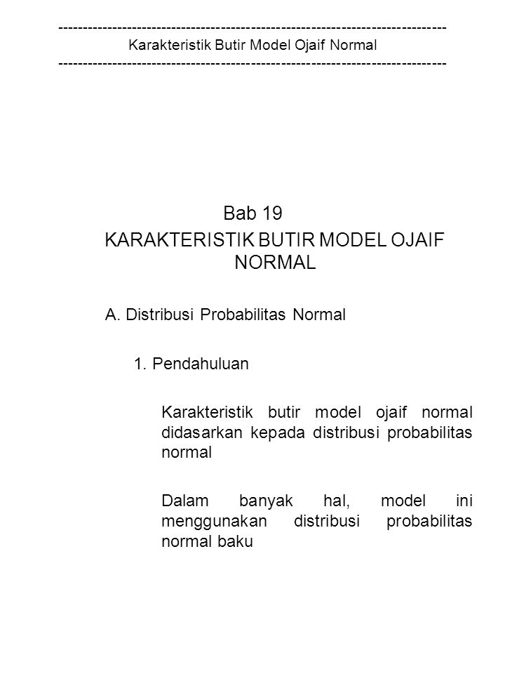 KARAKTERISTIK BUTIR MODEL OJAIF NORMAL