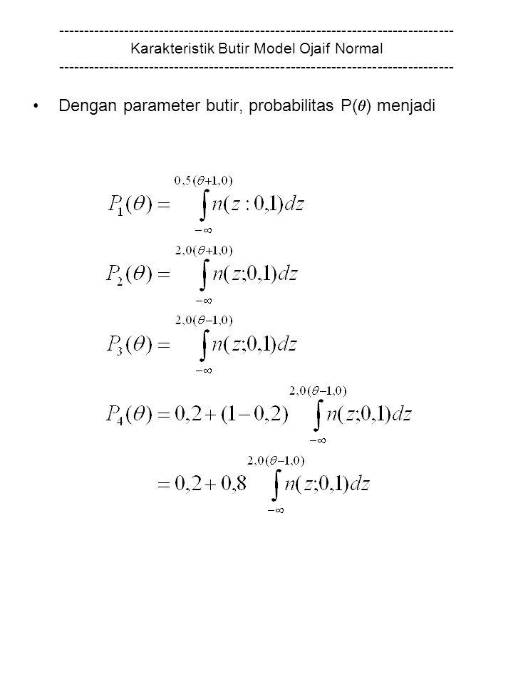 Dengan parameter butir, probabilitas P() menjadi