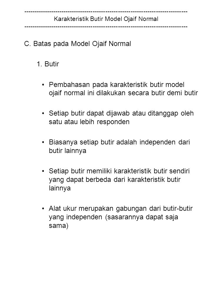 C. Batas pada Model Ojaif Normal 1. Butir