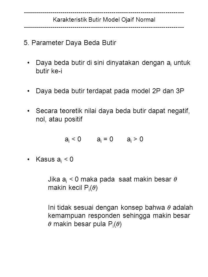 5. Parameter Daya Beda Butir