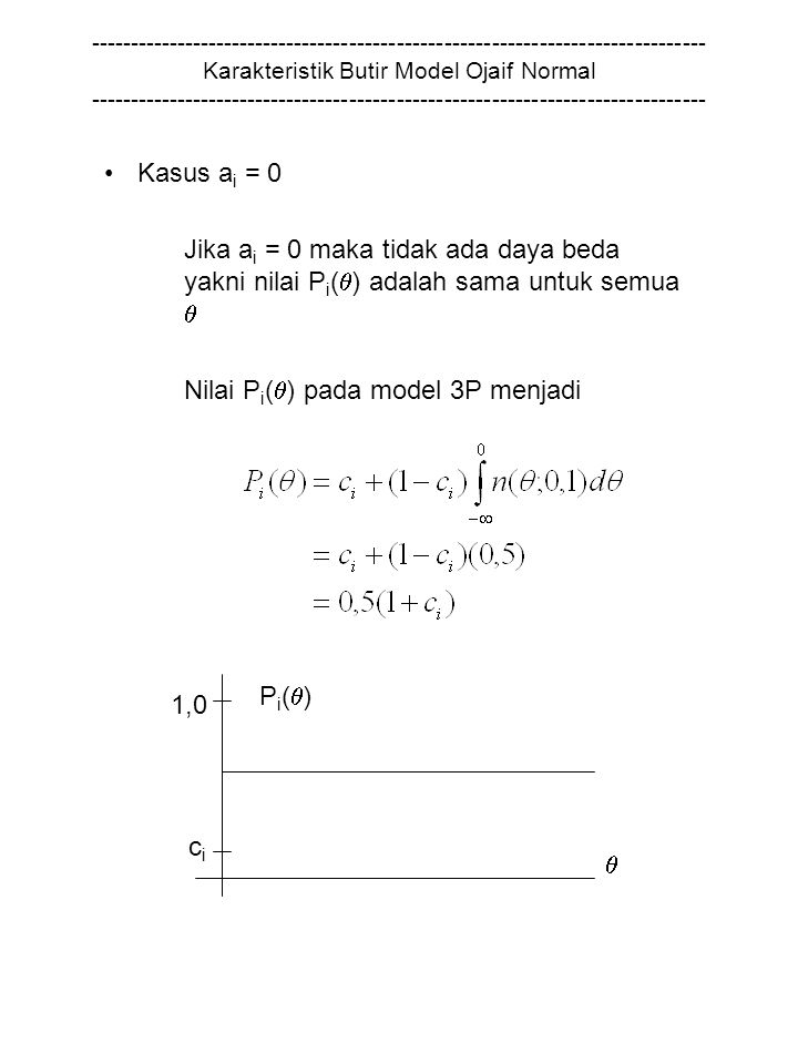 Nilai Pi() pada model 3P menjadi