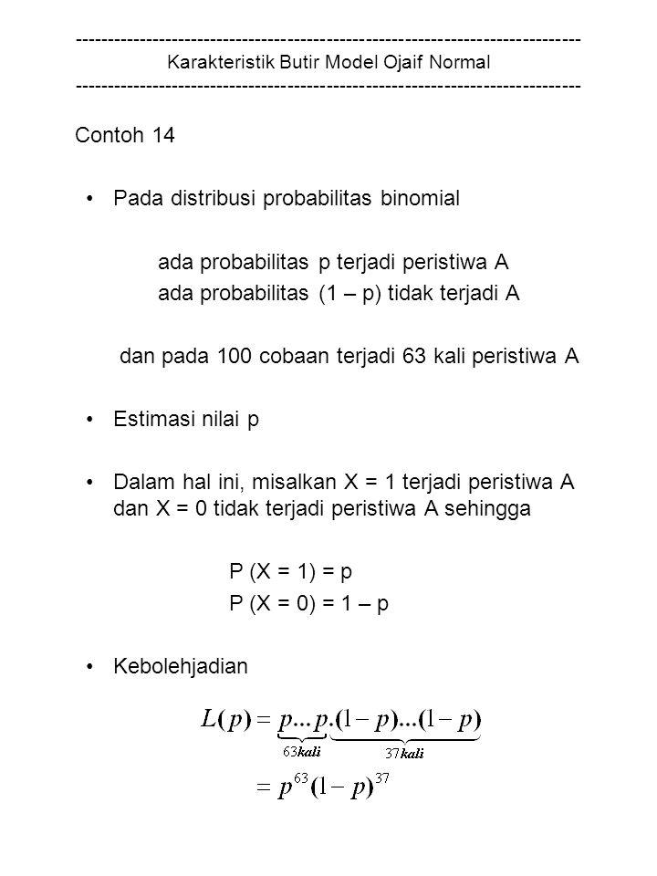 Pada distribusi probabilitas binomial