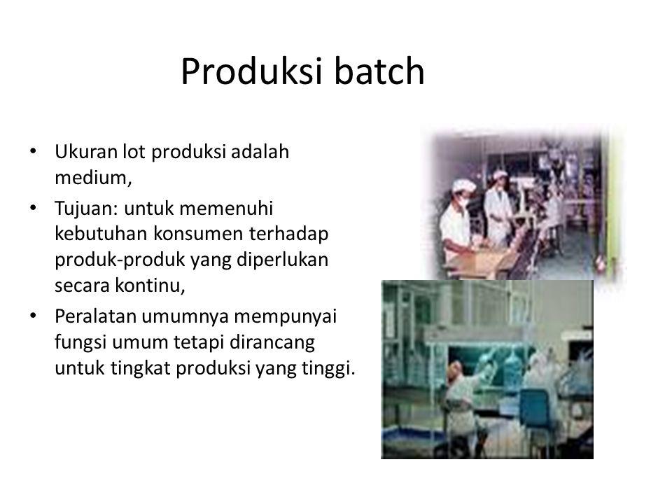 Produksi batch Ukuran lot produksi adalah medium,