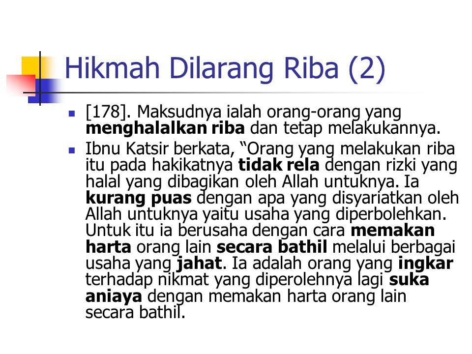 Hikmah Dilarang Riba (2)