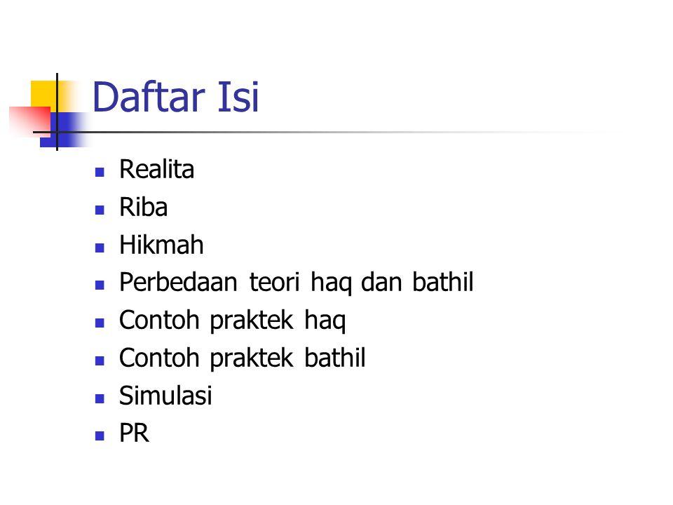 Daftar Isi Realita Riba Hikmah Perbedaan teori haq dan bathil