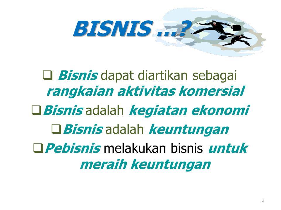 BISNIS … Bisnis dapat diartikan sebagai rangkaian aktivitas komersial