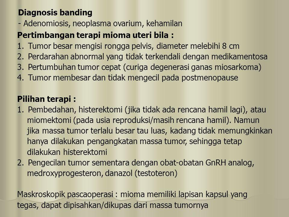 Diagnosis banding - Adenomiosis, neoplasma ovarium, kehamilan. Pertimbangan terapi mioma uteri bila :