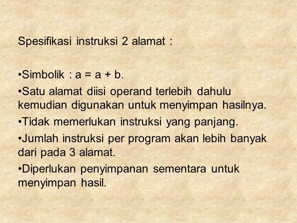 Spesifikasi instruksi 2 alamat :