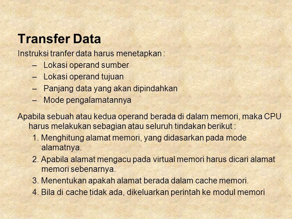 Transfer Data Instruksi tranfer data harus menetapkan :