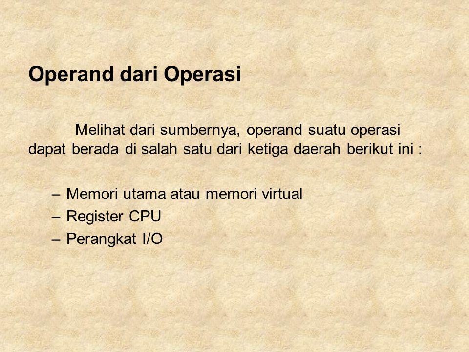 Operand dari Operasi Melihat dari sumbernya, operand suatu operasi dapat berada di salah satu dari ketiga daerah berikut ini :