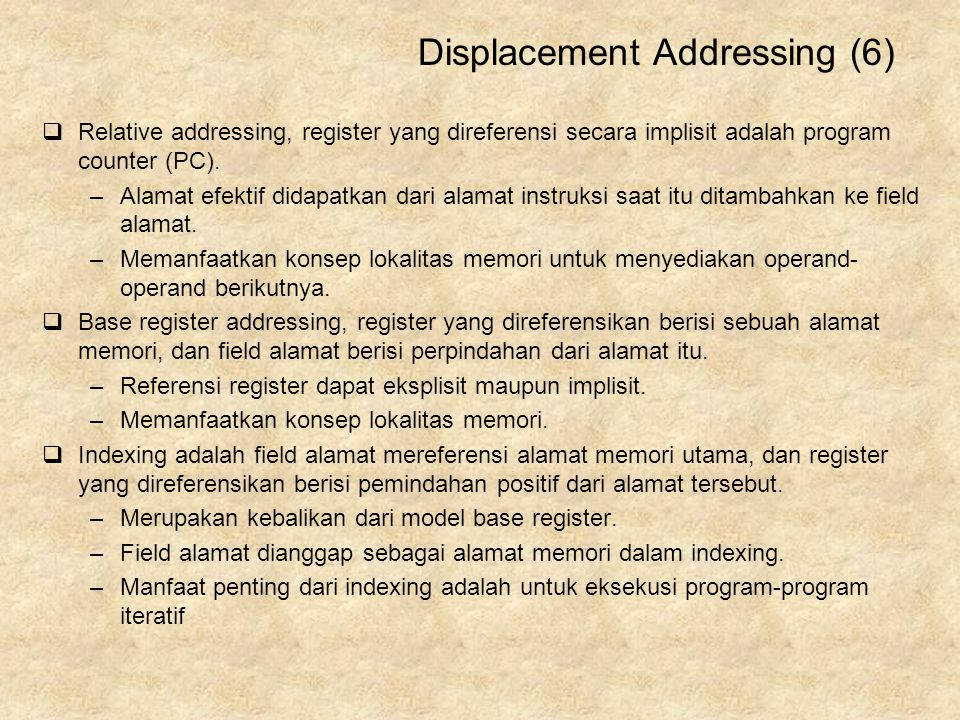 Displacement Addressing (6)