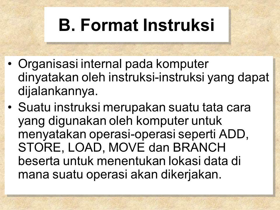 B. Format Instruksi Organisasi internal pada komputer dinyatakan oleh instruksi-instruksi yang dapat dijalankannya.