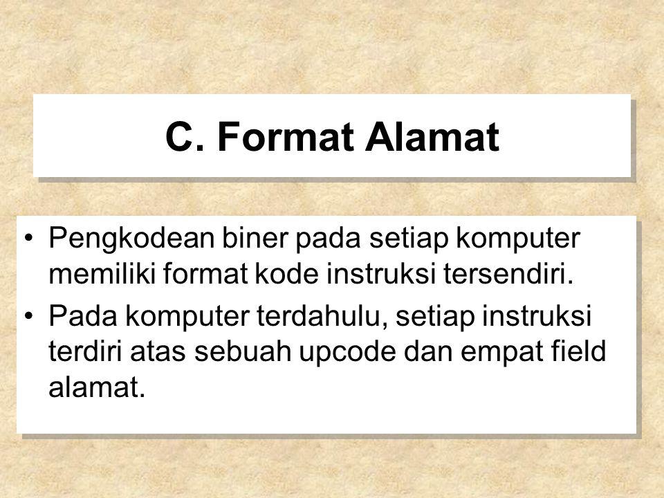 C. Format Alamat Pengkodean biner pada setiap komputer memiliki format kode instruksi tersendiri.