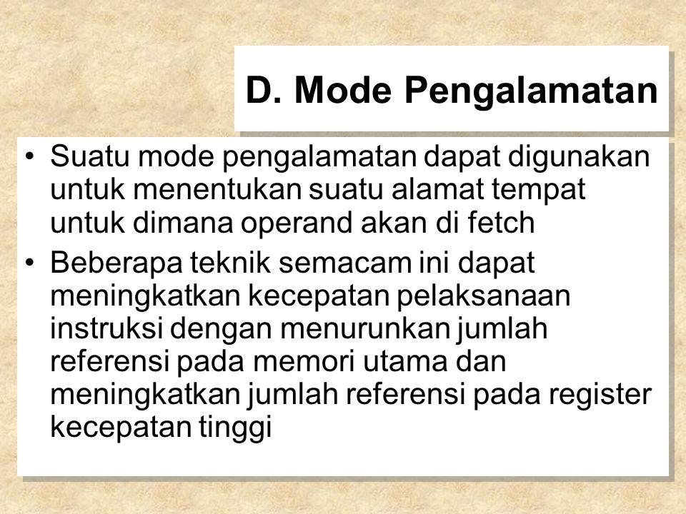 D. Mode Pengalamatan Suatu mode pengalamatan dapat digunakan untuk menentukan suatu alamat tempat untuk dimana operand akan di fetch.