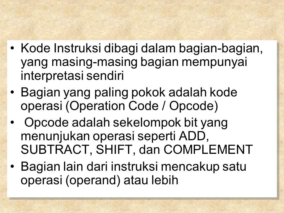 Kode Instruksi dibagi dalam bagian-bagian, yang masing-masing bagian mempunyai interpretasi sendiri