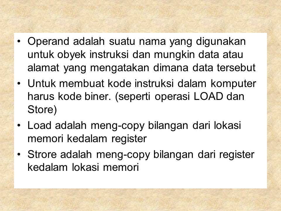 Operand adalah suatu nama yang digunakan untuk obyek instruksi dan mungkin data atau alamat yang mengatakan dimana data tersebut