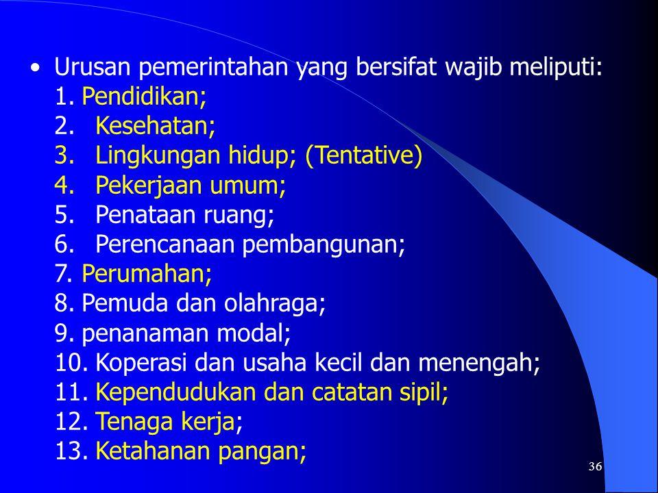 Urusan pemerintahan yang bersifat wajib meliputi:
