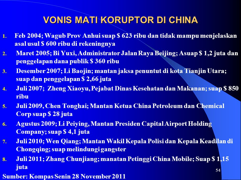 VONIS MATI KORUPTOR DI CHINA