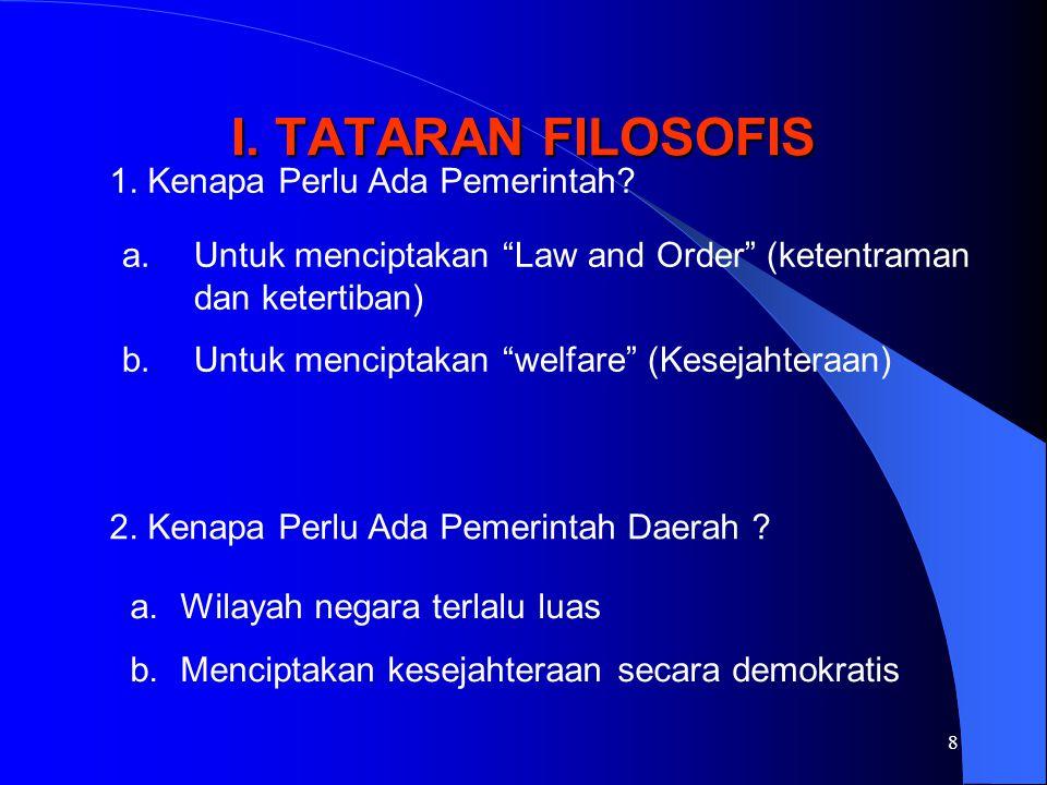I. TATARAN FILOSOFIS 1. Kenapa Perlu Ada Pemerintah