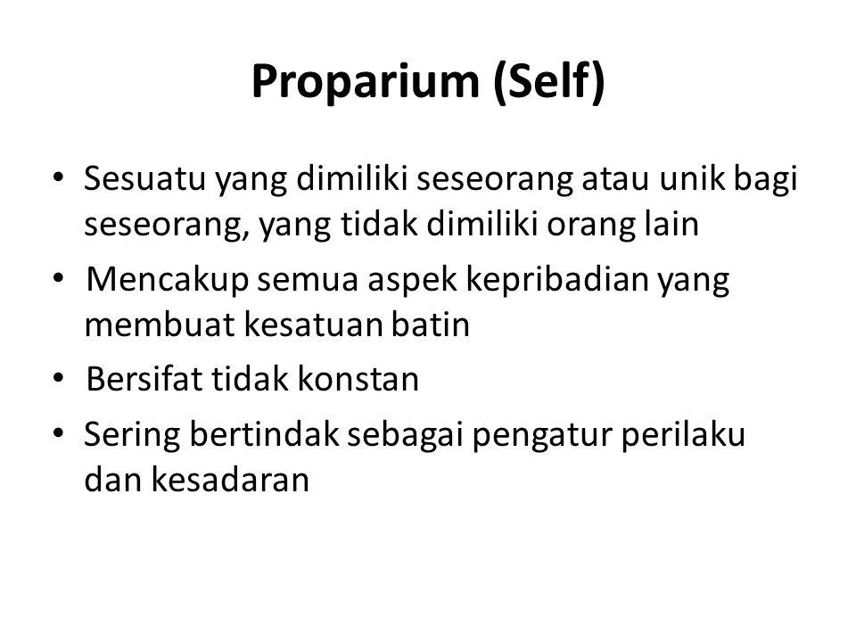 Proparium (Self) Sesuatu yang dimiliki seseorang atau unik bagi seseorang, yang tidak dimiliki orang lain.
