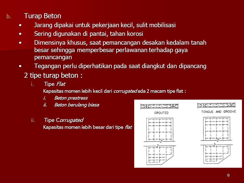 Turap Beton 2 tipe turap beton :