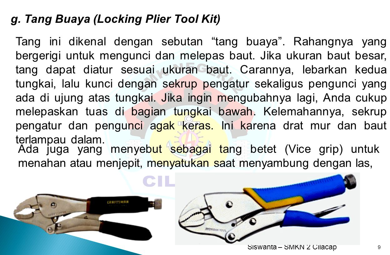 g. Tang Buaya (Locking Plier Tool Kit)