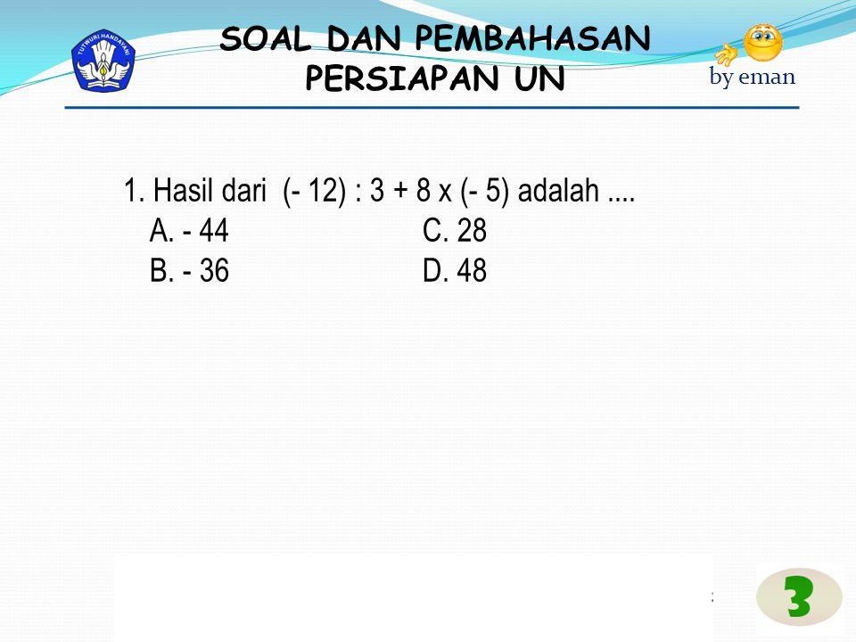 1. Hasil dari (- 12) : 3 + 8 x (- 5) adalah ....