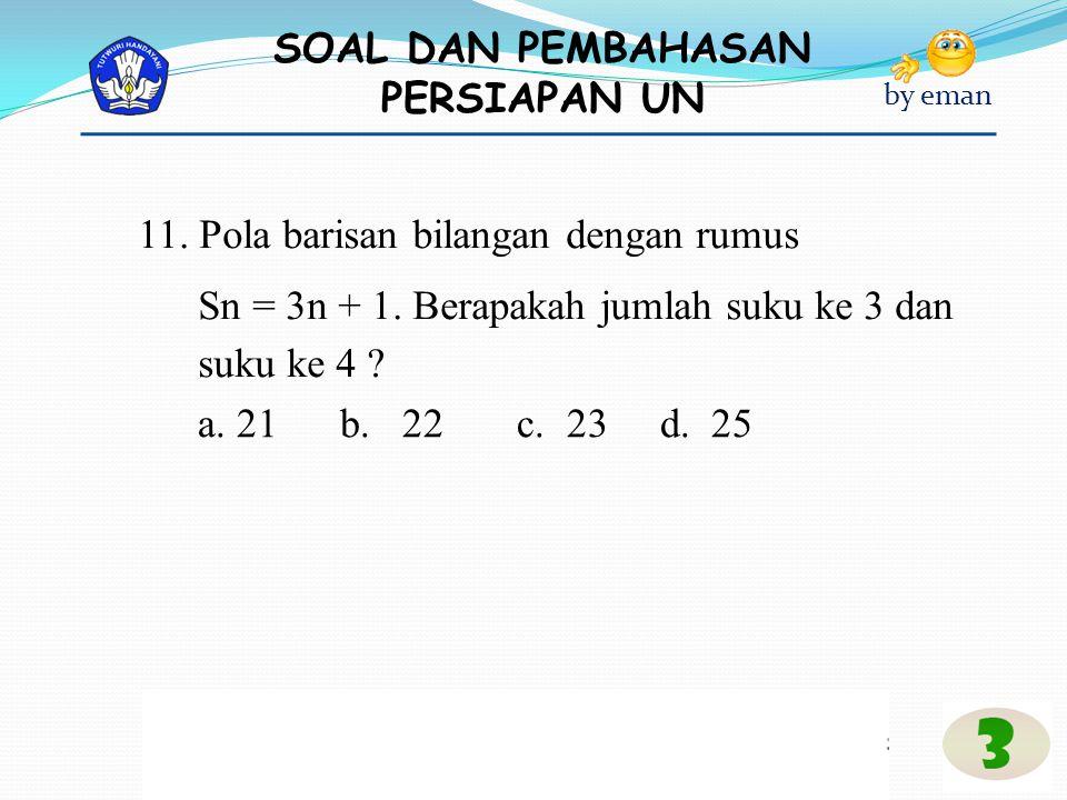 11. Pola barisan bilangan dengan rumus