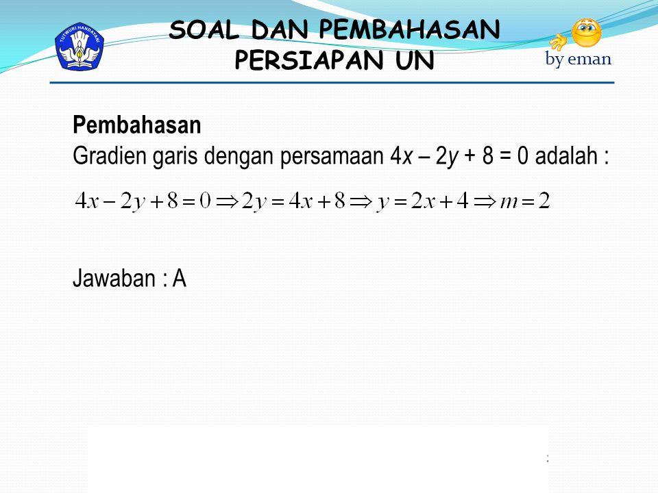 Pembahasan Gradien garis dengan persamaan 4x – 2y + 8 = 0 adalah : Jawaban : A