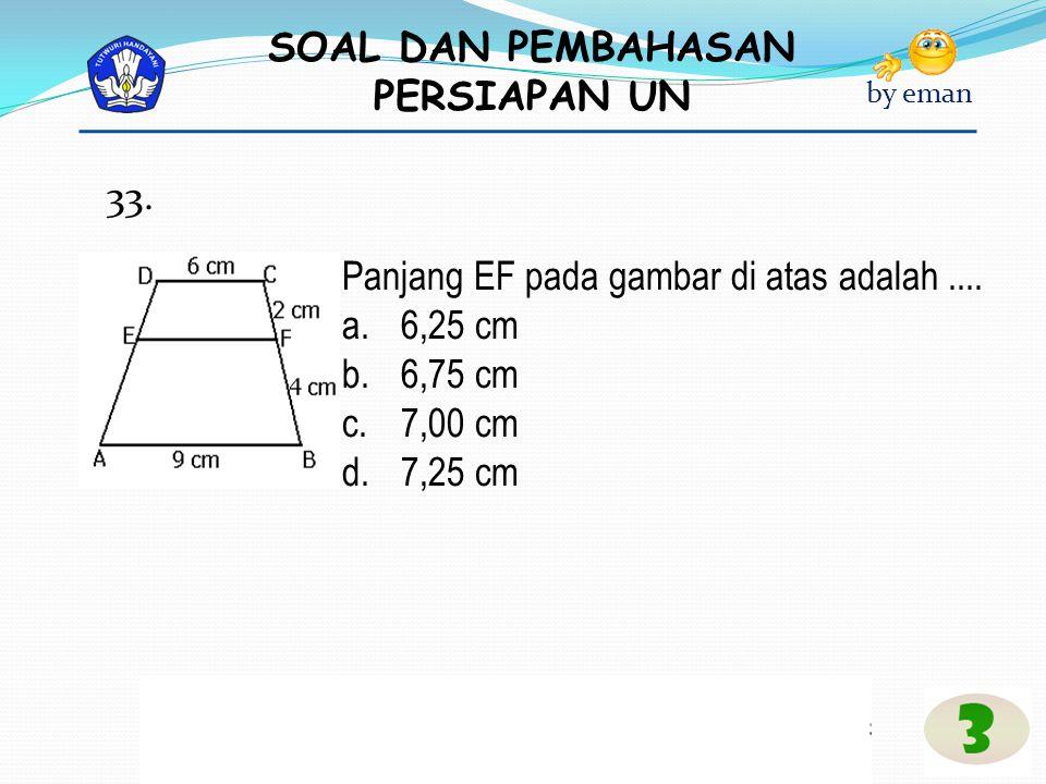 33. Panjang EF pada gambar di atas adalah .... 6,25 cm 6,75 cm 7,00 cm 7,25 cm