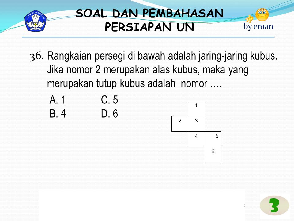 36. Rangkaian persegi di bawah adalah jaring-jaring kubus. Jika nomor 2 merupakan alas kubus, maka yang merupakan tutup kubus adalah nomor ….