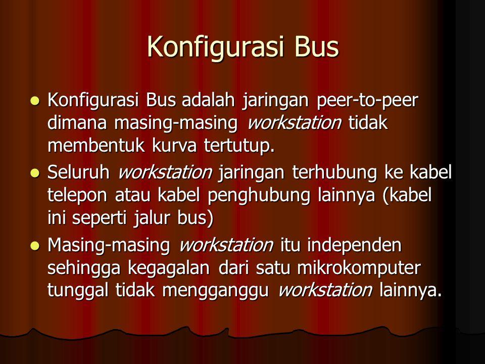 Konfigurasi Bus Konfigurasi Bus adalah jaringan peer-to-peer dimana masing-masing workstation tidak membentuk kurva tertutup.