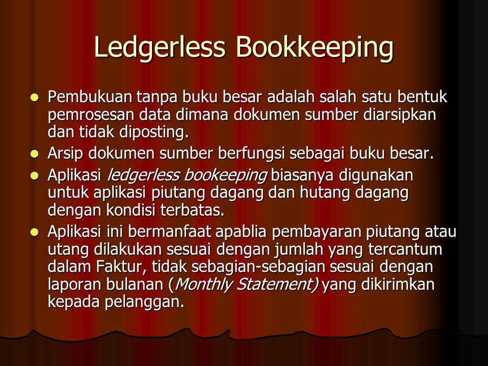 Ledgerless Bookkeeping