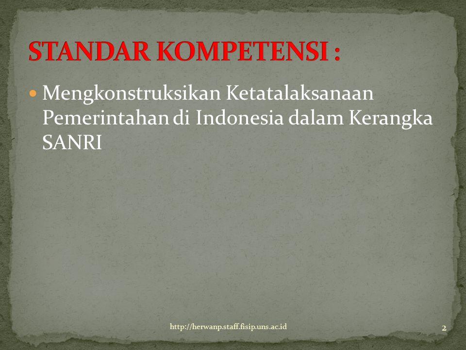 STANDAR KOMPETENSI : Mengkonstruksikan Ketatalaksanaan Pemerintahan di Indonesia dalam Kerangka SANRI.