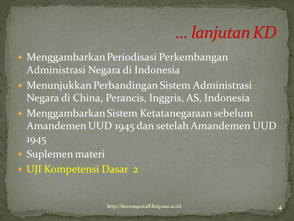 … lanjutan KD Menggambarkan Periodisasi Perkembangan Administrasi Negara di Indonesia.