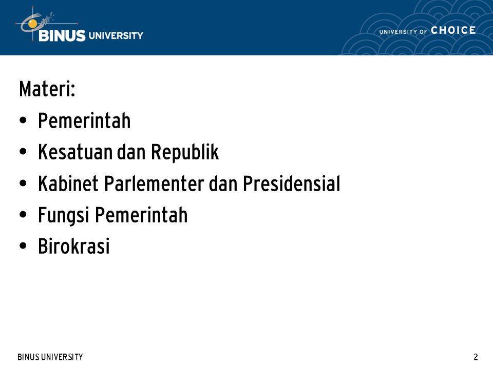 Kabinet Parlementer dan Presidensial Fungsi Pemerintah Birokrasi