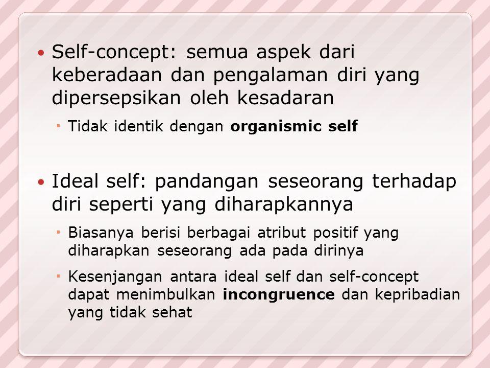 Self-concept: semua aspek dari keberadaan dan pengalaman diri yang dipersepsikan oleh kesadaran