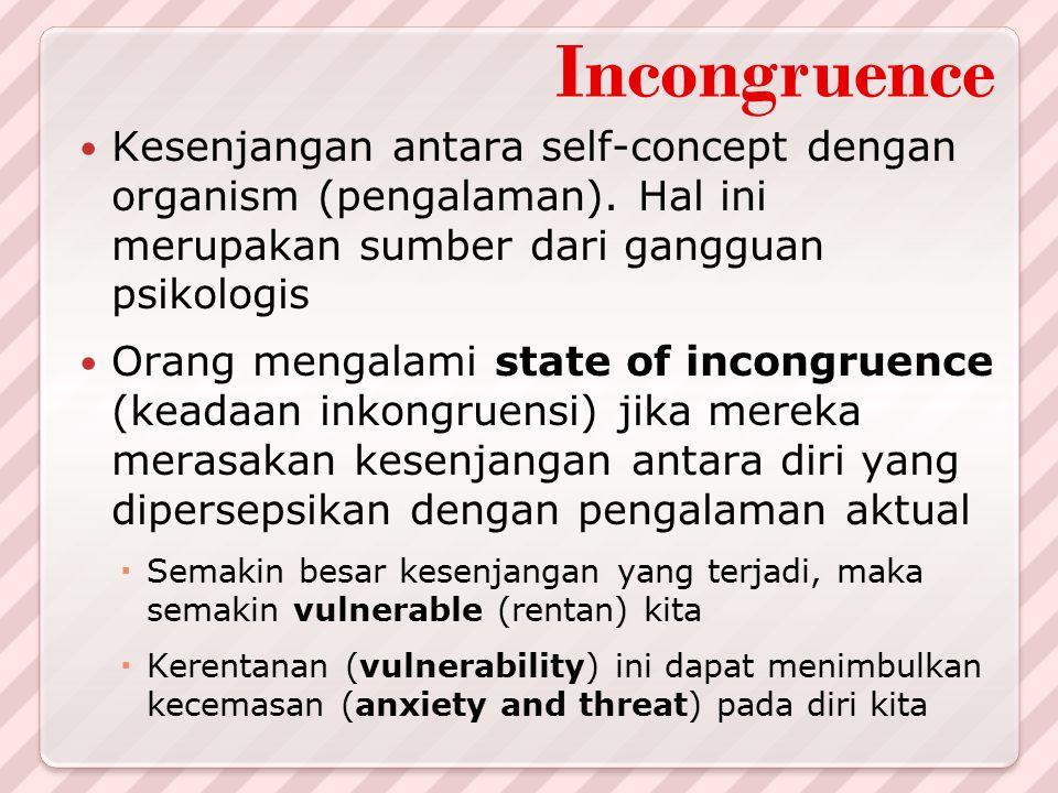 Incongruence Kesenjangan antara self-concept dengan organism (pengalaman). Hal ini merupakan sumber dari gangguan psikologis.